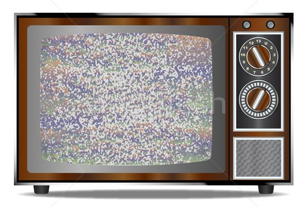 Velho televisão estático madeira velha branco tela Foto stock © Bigalbaloo