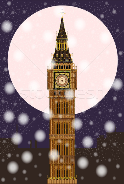 Londen christmas mijlpaal Big Ben volle maan sneeuwvlokken Stockfoto © Bigalbaloo