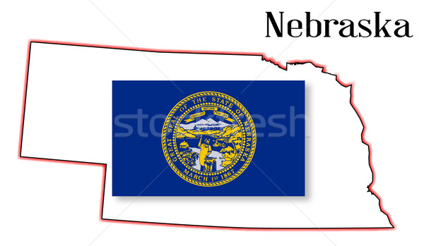 Nebraske State Map and Flag Stock photo © Bigalbaloo