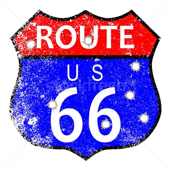 Route 66 bala sinaleiro grunge estrada cidade Foto stock © Bigalbaloo