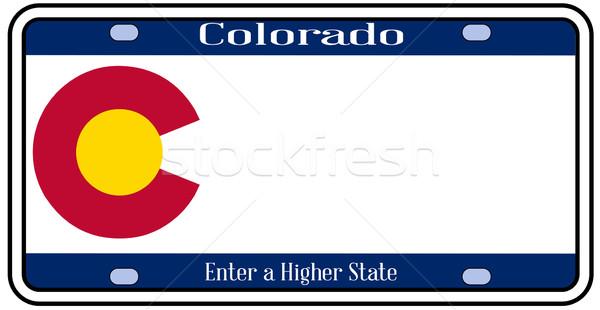 Колорадо номерной знак цветами флаг иконки белый Сток-фото © Bigalbaloo