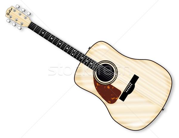 Guitarra acústica típico aislado blanco cuerpo arte Foto stock © Bigalbaloo