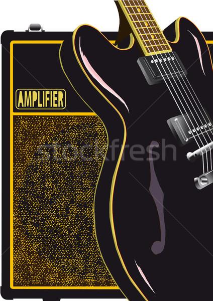 Black Guitar And Amplifier Stock photo © Bigalbaloo