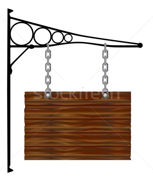 Rectangle suspendu signe mur bois Photo stock © Bigalbaloo
