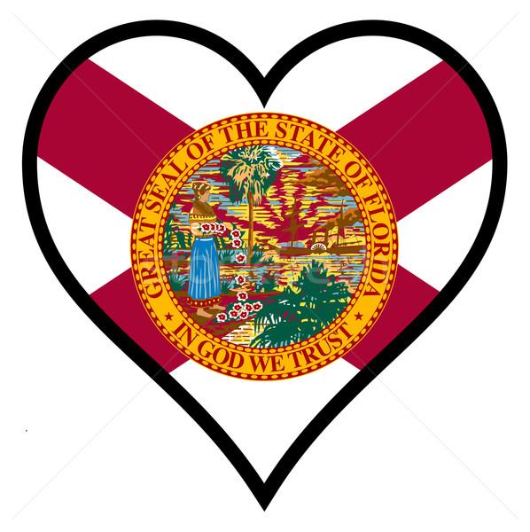 Szeretet Florida zászló szív összes fehér Stock fotó © Bigalbaloo