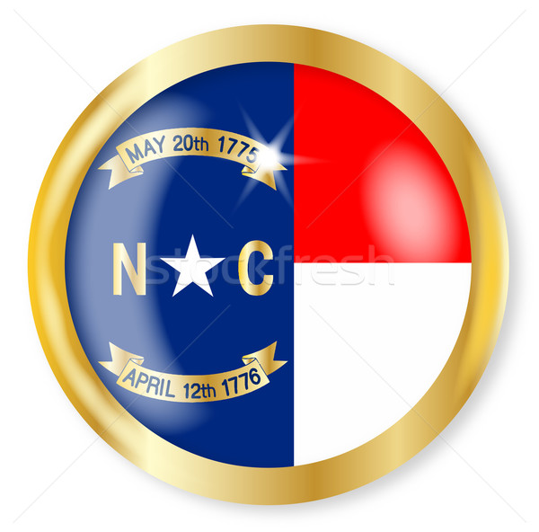 North Carolina vlag knop goud metaal Stockfoto © Bigalbaloo