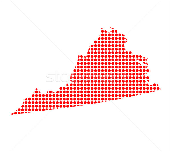 Red Dot Map of Virginia Stock photo © Bigalbaloo