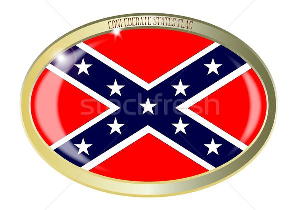 Confederate States Flag Oval Button Stock photo © Bigalbaloo