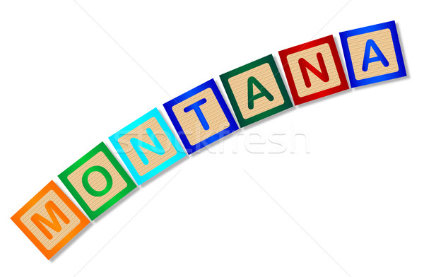 Montana bois lettres ensemble orthographe blanche Photo stock © Bigalbaloo