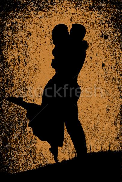 Szépia csók ódivatú első rajz szerelmespár Stock fotó © Bigalbaloo