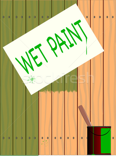 Humide peinture signe peint clôture Photo stock © Bigalbaloo