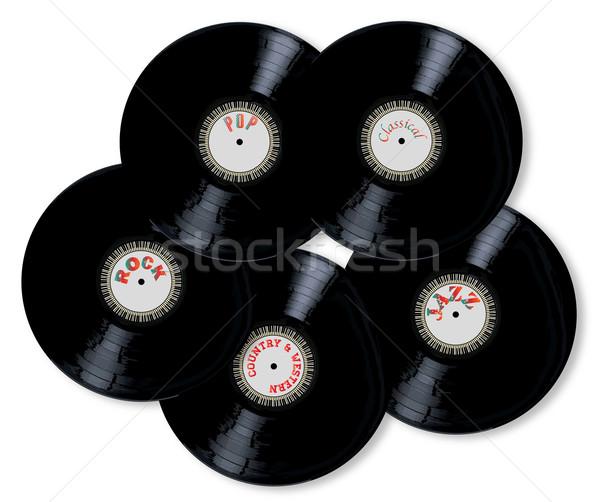 Stockfoto: Vinyl · collectie · lp · records · witte · record