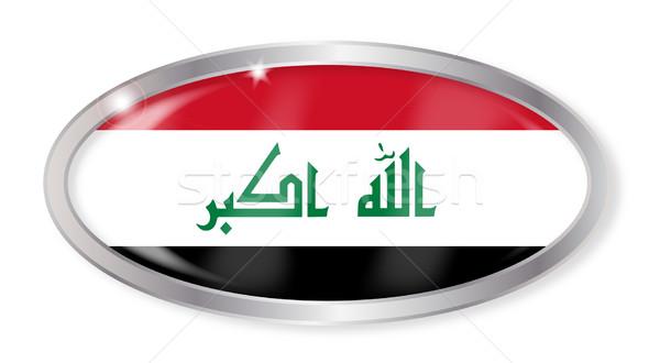 Irak bayrak oval düğme gümüş yalıtılmış Stok fotoğraf © Bigalbaloo