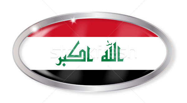 Iraq Flag Oval Button Stock photo © Bigalbaloo