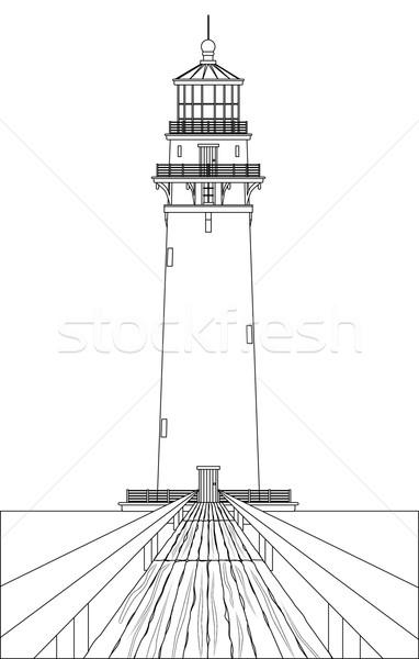 Stok fotoğraf: Deniz · feneri · beyaz · iyi · ahşap