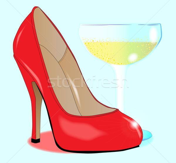 Champagne and Ladies Shoe Stock photo © Bigalbaloo