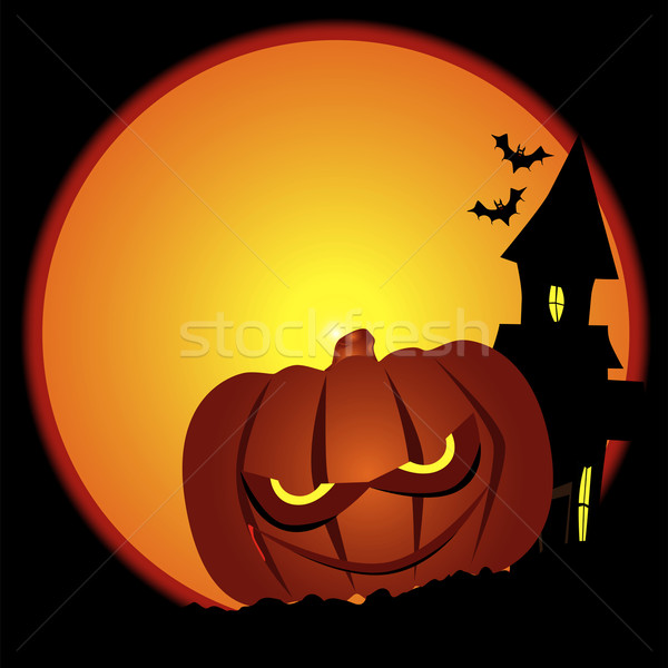 Evil Halloween Pumpkin Scene Stock photo © Bigalbaloo