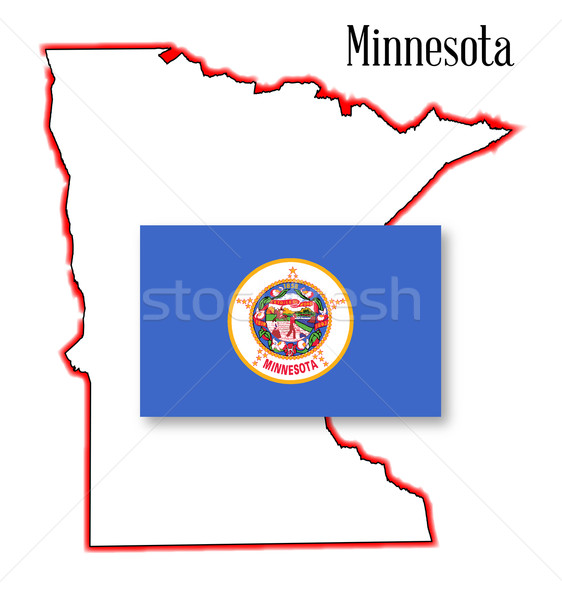 Minnesota State Map and Flag Stock photo © Bigalbaloo