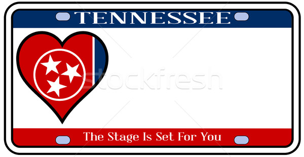 Tennessee tablica rejestracyjna kolory banderą ikona biały Zdjęcia stock © Bigalbaloo