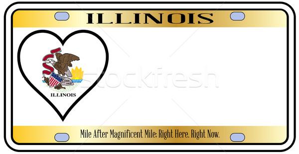 Illinois plaka renkler bayrak simgeler beyaz Stok fotoğraf © Bigalbaloo