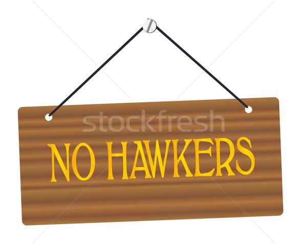 No Hawkers Wooden Sign Stock photo © Bigalbaloo