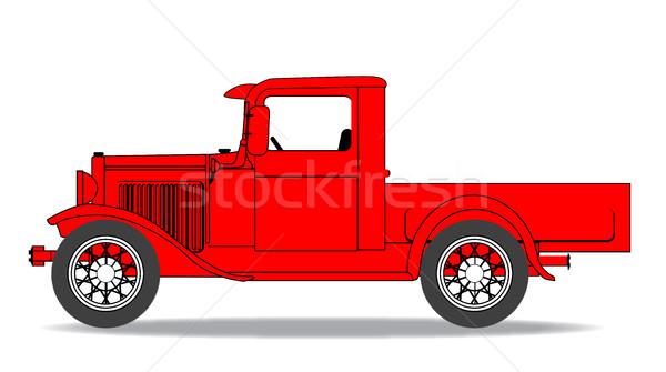 Vroeg vrachtwagen ouderwets witte model kunst Stockfoto © Bigalbaloo