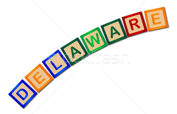 Delaware Wooden Block Letters Stock photo © Bigalbaloo
