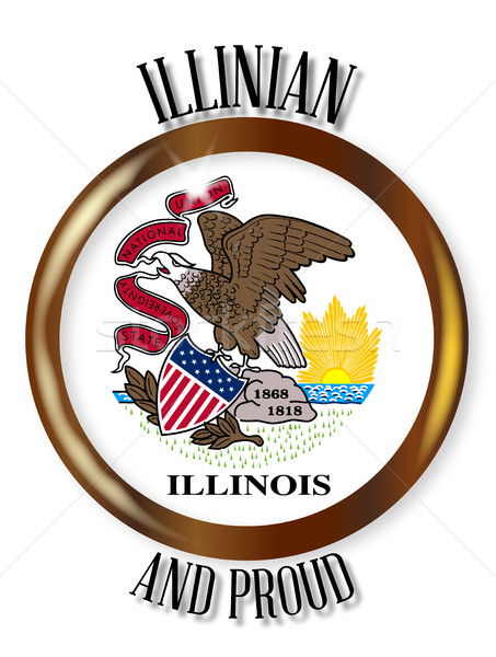 Illinois fier pavillon bouton or métal Photo stock © Bigalbaloo