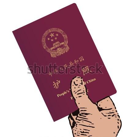 Pasaporte mano rojo moderna blanco Foto stock © Bigalbaloo