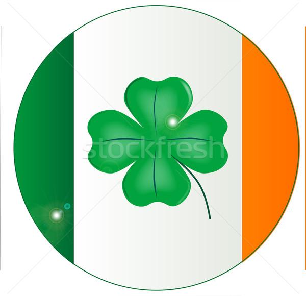 ír zászló szerencsés shamrock gomb Írország Stock fotó © Bigalbaloo
