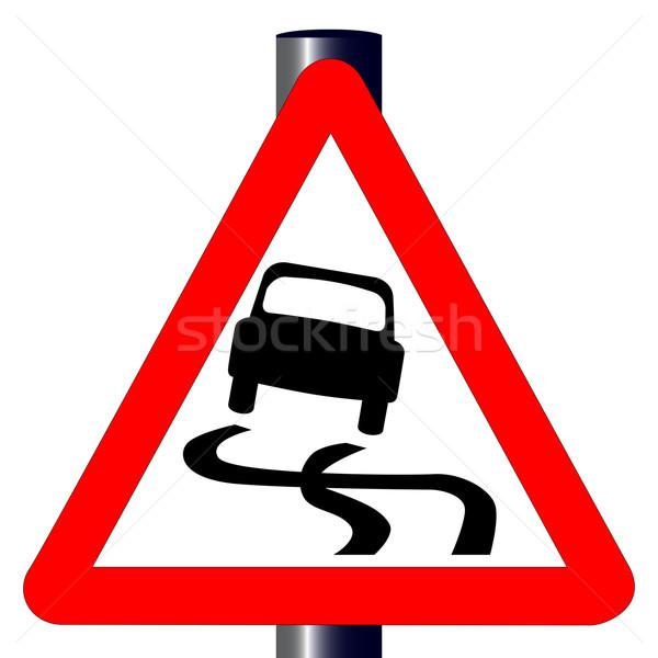 Tehlike imzalamak geleneksel üçgen trafik işareti yalıtılmış Stok fotoğraf © Bigalbaloo
