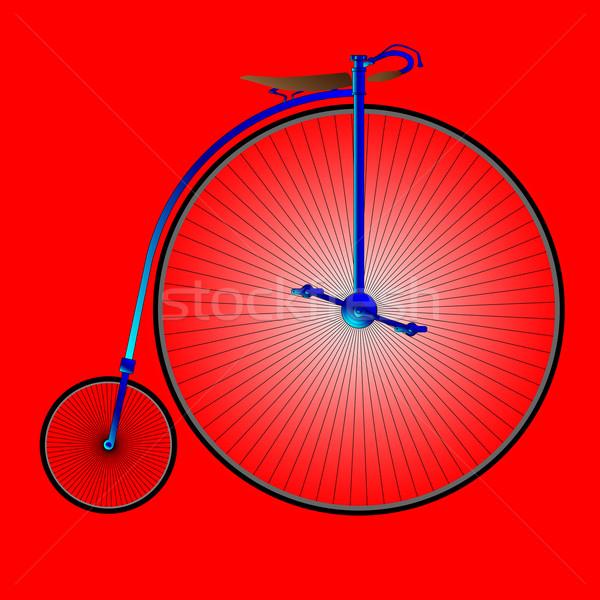 Penny fiets typisch Rood Blauw retro Stockfoto © Bigalbaloo