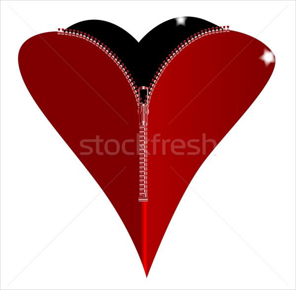 Fermuar kalp kırmızı siyah sevmek Stok fotoğraf © Bigalbaloo