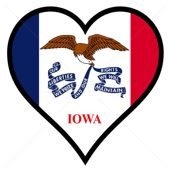 Szeretet Iowa zászló szív összes fehér Stock fotó © Bigalbaloo