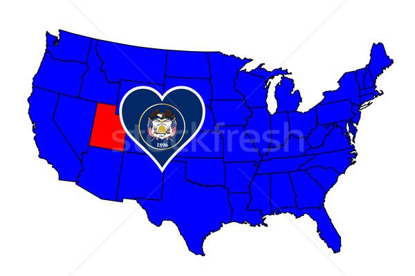 Utah icône carte États-Unis Photo stock © Bigalbaloo