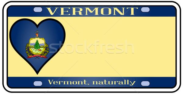Вермонт номерной знак цветами флаг иконки белый Сток-фото © Bigalbaloo