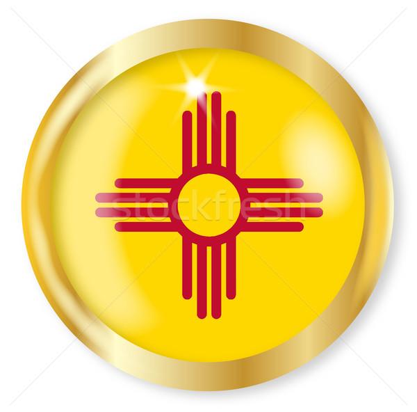 New Mexico vlag knop goud metaal Stockfoto © Bigalbaloo