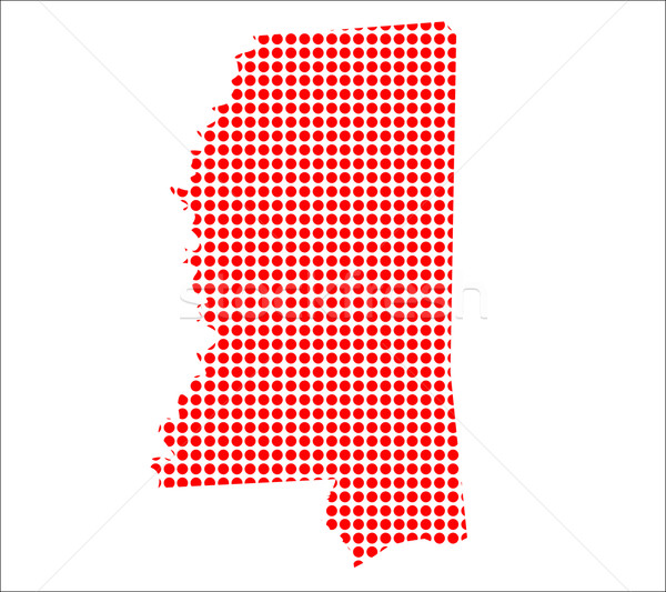 Red Dot Map of Mississippi Stock photo © Bigalbaloo