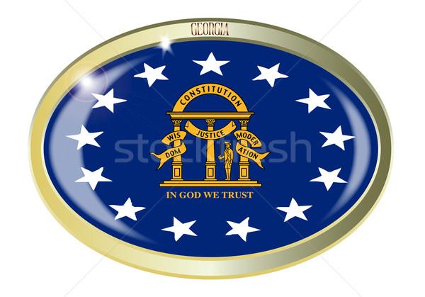 Stockfoto: Georgië · vlag · ovaal · knop · metaal · geïsoleerd