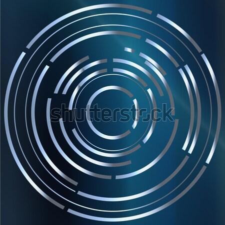 Circulaire style image bleu métal fond Photo stock © Bigalbaloo