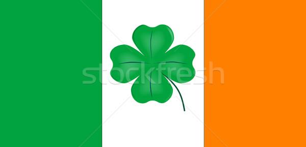 Irish Flag With Lucky Shamrock Stock photo © Bigalbaloo