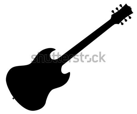 Bas gitar siluet genel yalıtılmış beyaz Stok fotoğraf © Bigalbaloo