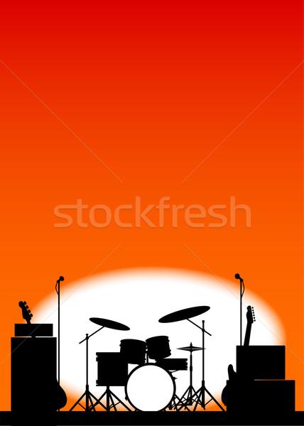 Rock band poster silhouette rock fase Foto d'archivio © Bigalbaloo