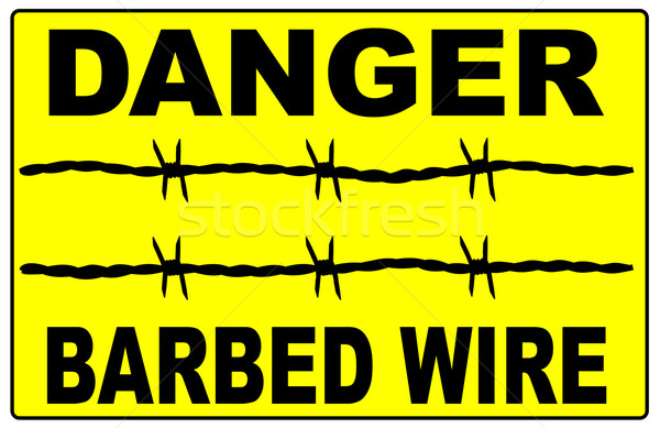 Barbed Wire Warning Sign Stock photo © Bigalbaloo