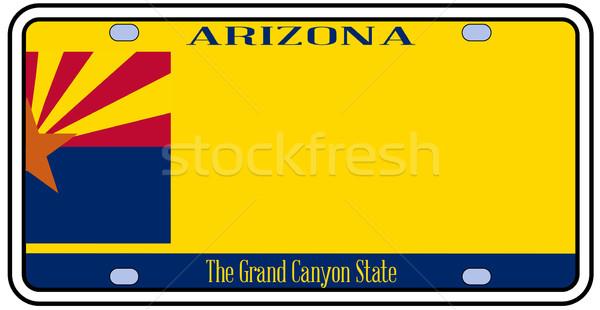 Сток-фото: Аризона · номерной · знак · цветами · флаг · иконки · белый