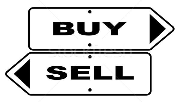 Vásárol elad feliratok kettő szöveg fehér Stock fotó © Bigalbaloo