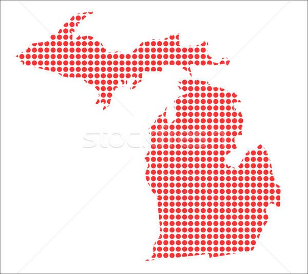 Red Dot Map of Michigan Stock photo © Bigalbaloo