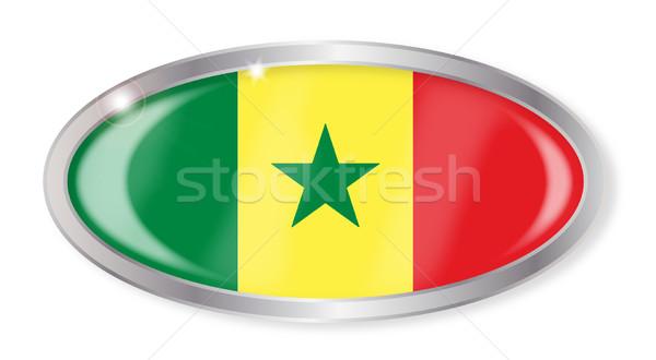 Senegal bandiera ovale pulsante argento isolato Foto d'archivio © Bigalbaloo