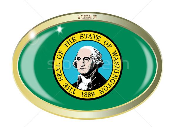 Washington vlag ovaal knop metaal geïsoleerd Stockfoto © Bigalbaloo