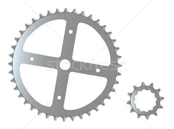 Bicicleta engranajes frente típico acero Foto stock © Bigalbaloo